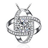"J.Rosée Pendant Necklace with 925 Sterling Silver and 3A Cubic Zirconia, 18""+2"" Extender Chain, Jewelry Gifts for Women Girls"