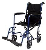 Karman Healthcare LT-2017-BD Folding Aluminum Transport Chair, Burgundy, 17 Inches Seat Width