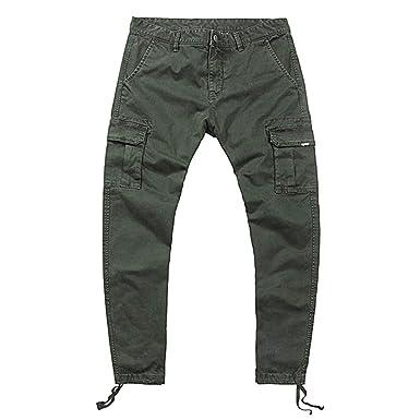 Batnott Herren Hosen Mens Fashion Pure Color Multi Pocket Lässige  Baumwollhose Overalls Bleistift Hose Männer Casual 749482d94d