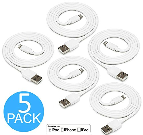 Lightning to USB Cable, 5 Pack 3 FT / 1 Meter [Heavy Duty] iPhone Charging Cord iPad Charger for Apple iPhone 8 X 8Plus 7/6/6S/Plus/SE/5S/5/iPad Mini/Air/Pro/iPod, Compatible with iOS10 (Cord Mini Ipad)