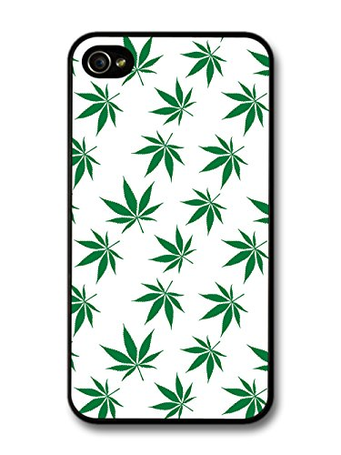 Weed Stoner Stoned Cannabis Leaf Pattern Minimalist on White case for iPhone 4 4S