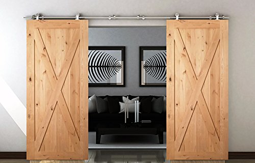 diyhd 12ft stainless steel top mounted double sliding barn wood door closet door sliding track hardware safety pin hanger barn door sliding kit