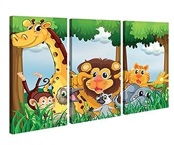 Amazon.de: Leinwandbild 3 Tlg Tiere Kinderzimmer Löwe Giraffe Affe ...