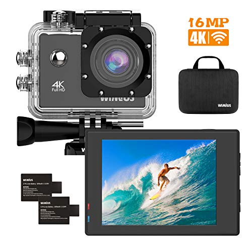 WiMiUS 4K 16MP WiFi Action Camera 40M Underwater Camera 170 Degree Wide Angle 2 Inch LCD Screen Sports Camcorder Dual Rechargeable Batteries Waterproof Case Bike Helmet Cam and Kit of Accessories