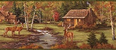 Chesapeake BBC50051B Lodge Stag Creek Portrait Wallpaper Border, Brown