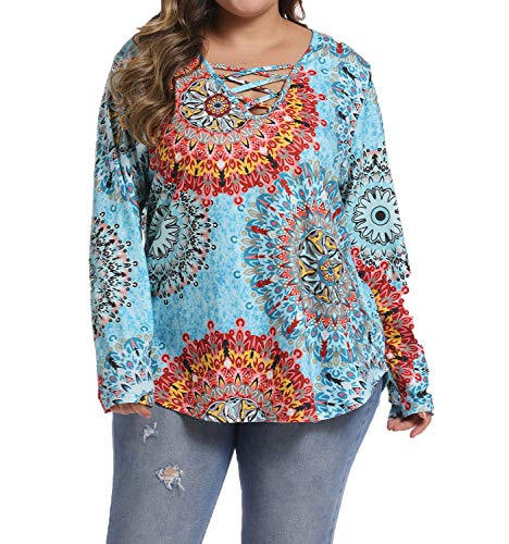 caidyny Womens Women's T-Shirt Plus Size Long Sleeve Floral Tees V Neck Criss Cross Fall Tops Light Blue