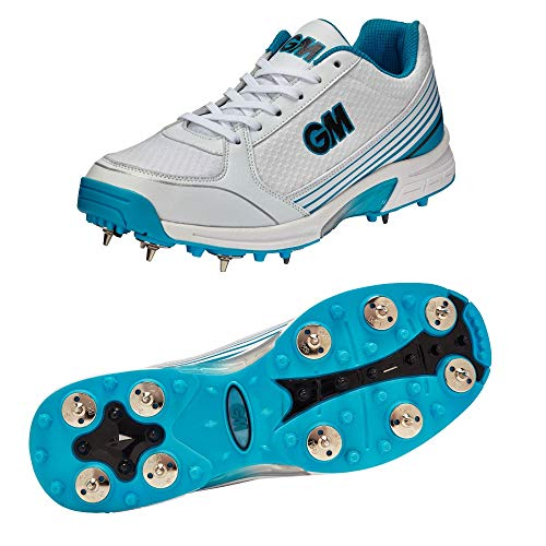 GM Cricket Shoes : Maestro Multi Function with Replaceable Metal Spikes & Rubber Studs (Color - Blue ()