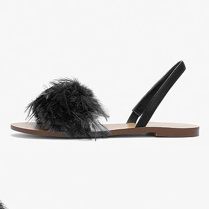 precio más bajo con clásico comprar online ZHIRONG Sandalias planas de la pluma mullida de las mujeres ...