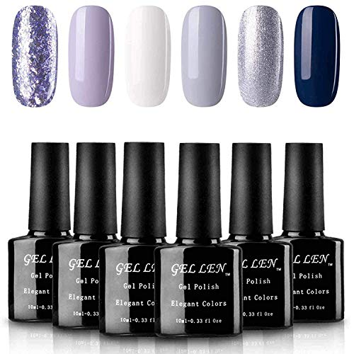 Gellen UV Gel Nail Polish Set - Pure Shimmering Glitters Winter Romance Series Popular Nail Art 6 Colors 10ml Each