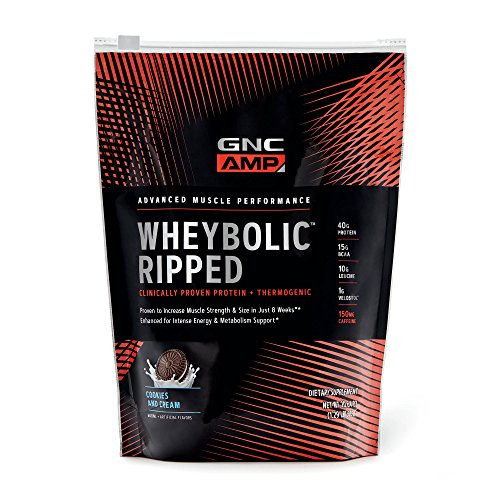 GNC AMP Wheybolic Ripped Whey Protein Powder, Cookies and Cream, 9 Servings, Contains 40g Protein and 15g BCAA Per Serving