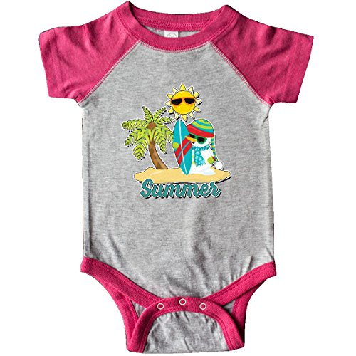 inktastic Summer Surfing Snowman Infant Creeper Newborn Heather and Hot Pink (Snowman Surfing)