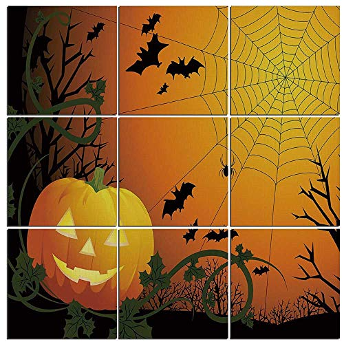 iPrint Modern 9-Piece Mural of Spider Web on Wood,Halloween Themed Composition with Pumpkin Leaves Trees Web and Bats Decorative,60