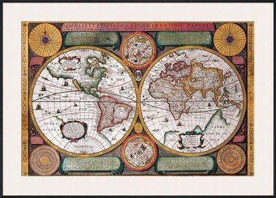 Antique Map  Terre Universelle  1594 Framed Art Poster Print By Petro Plancio  43X31