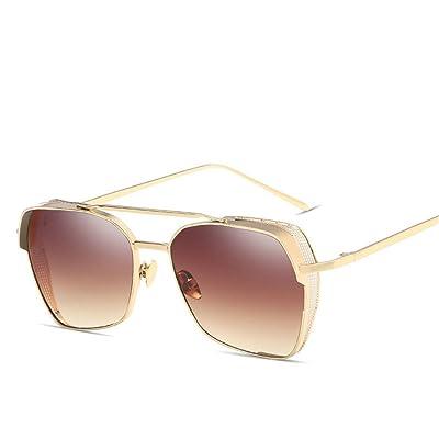 HONG@Lunettes de soleil Lunettes de soleil en métal de mode boîte pleine, E
