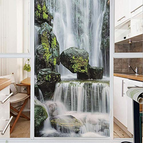 Decorative Window Film,No Glue Frosted Privacy Film,Stained Glass Door Film,Majestic Waterfall Blocked with Massive Rocks with Moss on Them,for Home & Office,23.6In. by 35.4In Green Black and White ()
