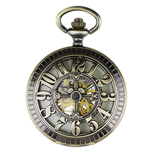 [PACIFISTOR Unisex Luminous Dial Hand Wind Up Skeleton Mechanical Brass Analog Pocket Watch with Fob] (Man Of The Nights Watch Costume)