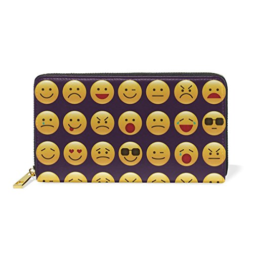 Holder Handbag ALAZA Smile Card Leather Black2 Genuine Wallet Clutch Emoticon Themes Long emoji Different Purse Face Leather 1zOxAzq0wr