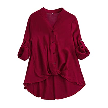 545549a53ae Amazon.com: Women Casual Solid Blouse,Long Short Sleeve T Shirt Button Down  Tops Flowy V Neck Tunic Plain Summer Loose Tank Tee: Office Products