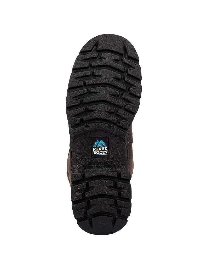 McRae Mens Dark Brown Work Boots Leather Round Toe