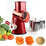#4: Vegetable Mandoline Slicer, Zacfton Vegetable Fruit Cutter Cheese Shredder Rotary Drum Grater with 3 Stainless Steel Rotary Blades and Suction Cup Feet (Red)
