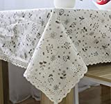 "LFHT Vintage Rectangular Cotton Linen Lace Edge Dandelion Flower Tablecloth Washable Tablecloth Dinner Picnic Table Cover Home Decoration (W23.6"" X L23.6"")"