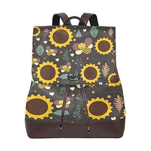 Bee Sunflower Women's Genuine Leather Backpack Bookbag School Shoulder Bag