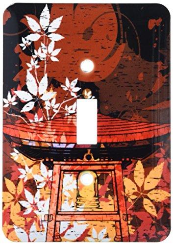 3dRose LSP 116381_ 1Pretty Ornate japonés campana Gong decorado con follaje Asia Oriental Arte cubierta de interruptor...