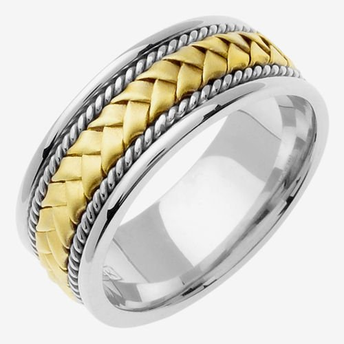 14K Two Tone Solid Gold Hand Braided Wedding Ring Band for Men (Sizes 9 - (Hand Braided Wedding Band)
