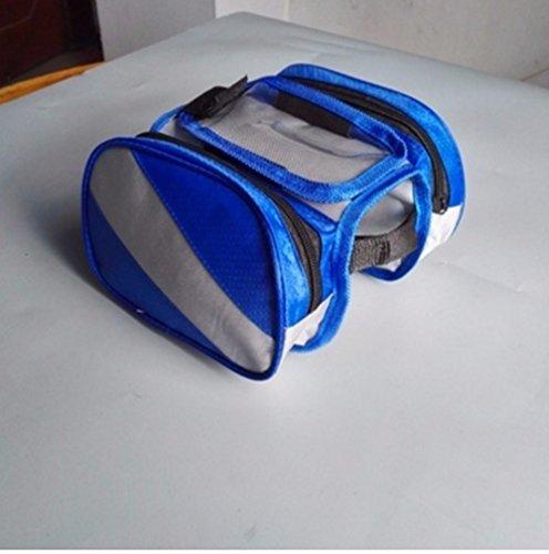 Fahrrad Satteltaschen vorderen Tasche Touch-Screen Mountainbike Sattel Bag Pipe vorderer Träger Handy Pakete Radfahren Zubehör Bike Rack Taschen, Blau