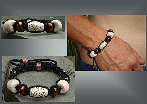 mens-bronze-cream-silver-organic-pottery-ceramic-bead-tibetan-shamballa-woven-bracelet-male-masculin