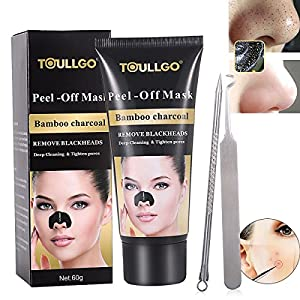 Charcoal Peel Off Mask, Black Mask Peel Off, Facial Masks Peel Off, Suction Cleaner Black Mask Tearing Resist Oily Skin Strawberry Nose Purifying Deep Cleansing