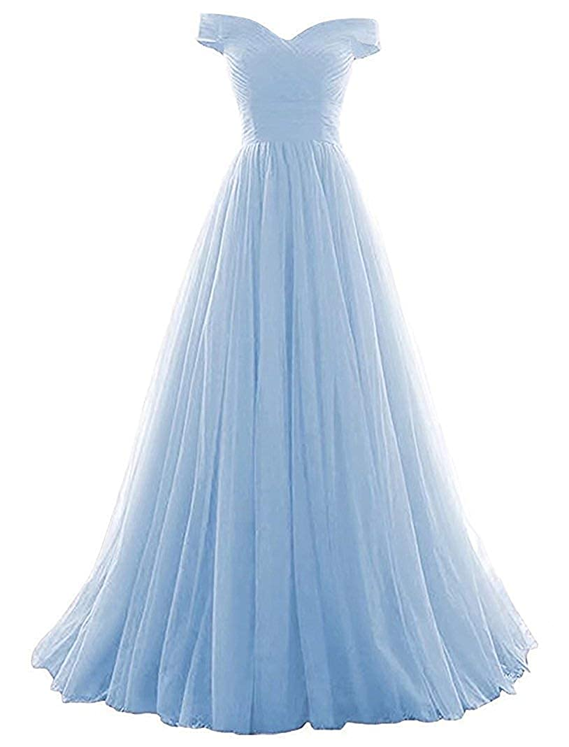 275f26b2f Amazon.com: HanlandyBridal 2019 Women's A-Line Ball Gown Tulle Off-The-Shoulder  Prom Homecoming Wedding Dress: Clothing