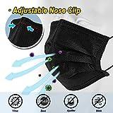 50 Pcs Black Mask Disposable Face Masks Breathable
