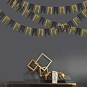 30Ft Black Gold Tassel Garland Double Sided Metallic Glitter Paper Streamer Bunting Banner for Engagement Bachelorette Wedding Bridal Shower Birthday Anniversary Holiday Hen Party Decorations Supplies