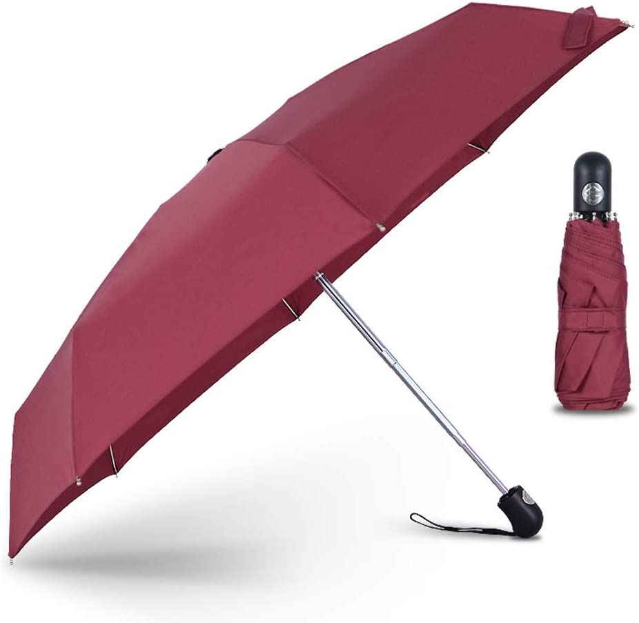 Mini Automatic 5Folding Umbrella Rain Women Wind Resistant Portable Car Outdoor Fashion Umbrellas Male Parasol Color : Red