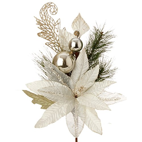 White & Gold Poinsettia Christmas Spray