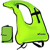 KUYOU Inflatable Snorkel Vest Adult Life Jackets for Snorkeling/Paddle/Swimming/Free-Diving Dive, Safety Load Up To 220 Ibs