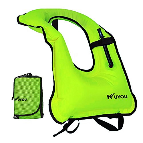KUYOU Inflatable Snorkel Vest Adult Life Jackets for Snorkeling/Paddle/Swimming/Free-Diving Dive, Safety Load Up To 220 Ibs (Green)