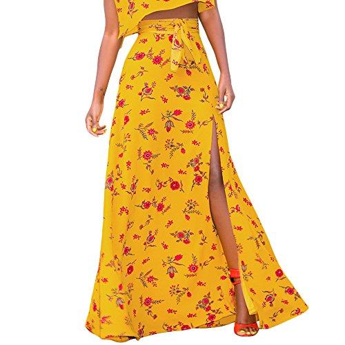 sual Flowy High Waist Skirt Boho Floral Slit Beach Long Skirt S-XXL ()
