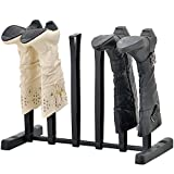 upright boot holder - MyGift 3-Pair Tall Boot Storage Rack, Holder & Shape Maintainer Shoe Stand for Closet/Entryway, Black