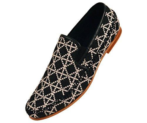 Amali Heren Dress Casual Loafers In Geweven Geborduurde Ontwerpen Houtachtige Zool Stijlen Trey, Trap, Harmon Black / Denim