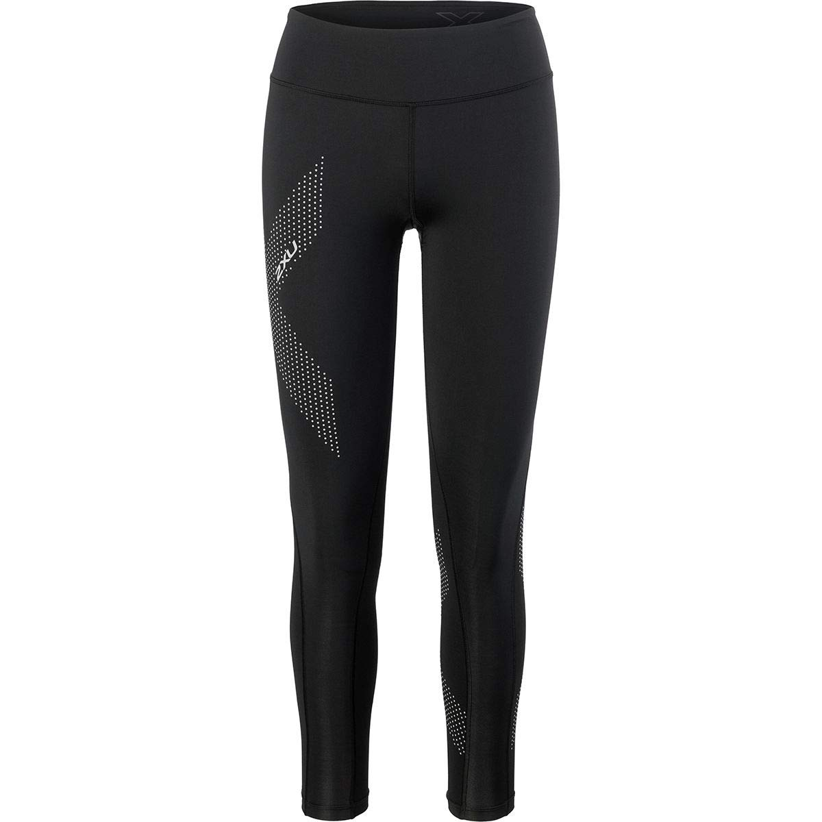 2XU Mid-Rise Compression Tights - Women's Black/Dotted Reflective Logo, XS