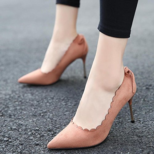Shoes Work Single Lady 34 Pointed Edge 9Cm MDRW Fashion Shoes Heel Bow Leisure Elegant Suede Spring Pink Shoes Women Wavy High qTpnnfSA