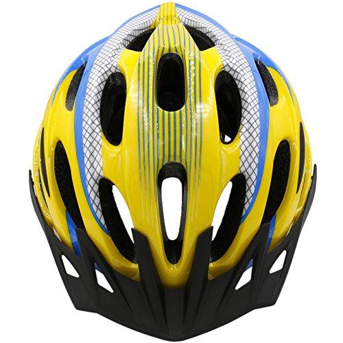 Molded Visor - Baomain Adjustable Lightweight Protective Bike Helmet Ultralight Integrally-Molded EPS Cycling Helmet with Detachable Visor 25 Vents 56-61cm CE Safety (Yellow + Blue)