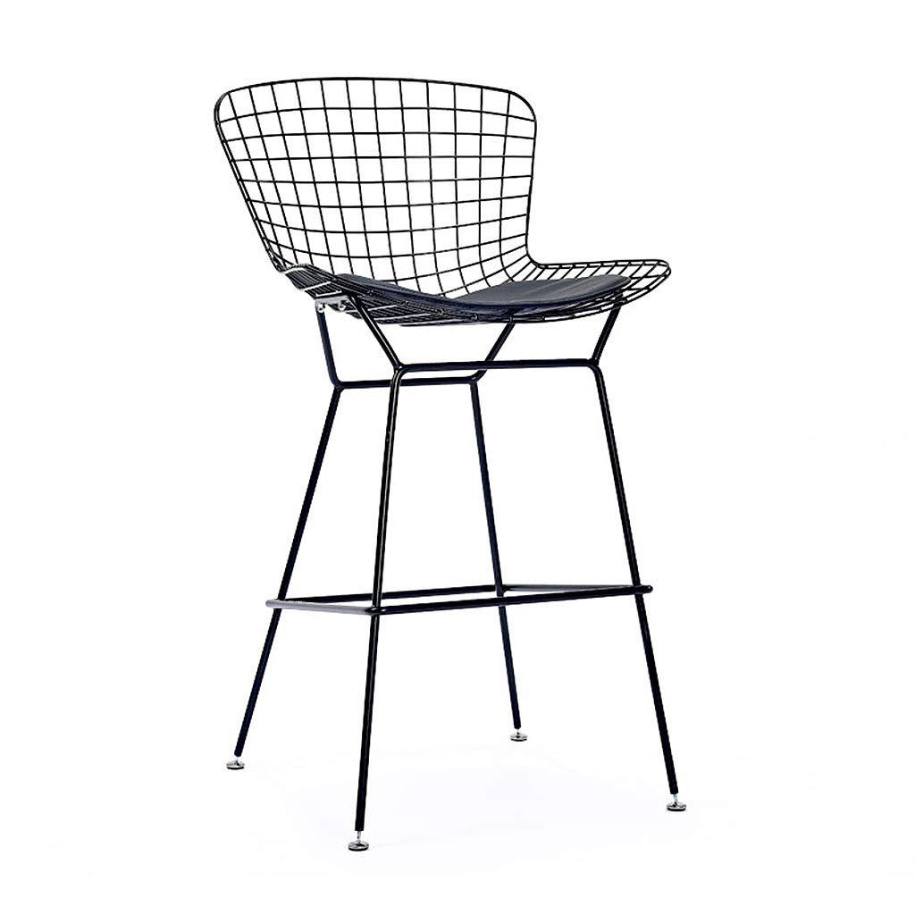 Black QianLiJiaJi Bar Stool-Modern Minimalist Industrial Bar Stool High Chair Backrest Counter Stool High Bar Counter Metal Modern bar Chair (color   Red)