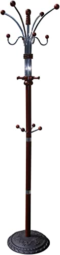 eHomeProducts Cherry Finish Wood and Chrome Coat Hat Jacket Rack