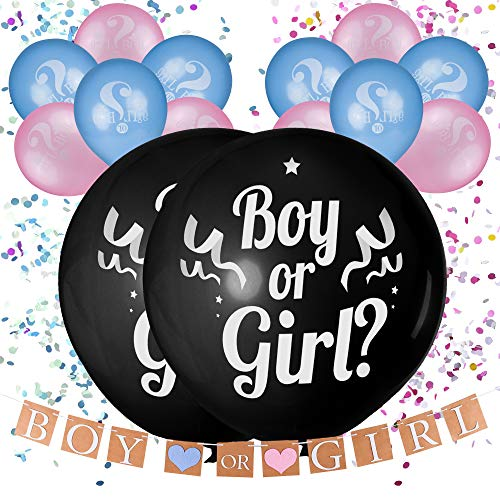 "36"" Gender Reveal Balloon with Confetti, Pink and Blue""Boy or Girl"" Balloons and Banner Decorations, Baby Shower Party Decor, Gender Reveal Party Supplies kit (Boy or Girl?)"