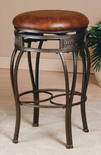 Hillsdale Montello Backless Swivel Bar Stool, Old Steel Finish with Faux Brown Leather (Stools Bar Backless Swivel)