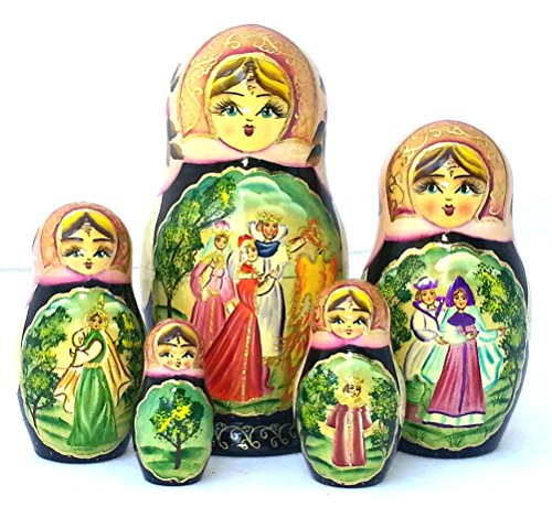 BuyRussianGifts Russian Nesting Dolls Fairytale The Firebird Hand Carved Hand Painted 5 Piece Set