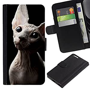 All Phone Most Case / Oferta Especial Cáscara Funda de cuero Monedero Cubierta de proteccion Caso / Wallet Case for Apple Iphone 6 PLUS 5.5 // Sphynx Donskoy Peterbald Hairless Cat